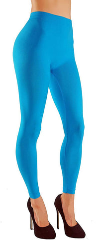 Solid Assorted Color Leggings With Wide Elastic Waistband light blue front