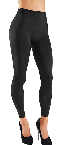 Solid Assorted Color Leggings With Wide Elastic Waistband Black Front