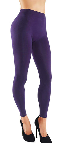 Solid Assorted Color Leggings With Wide Elastic Waistband purple front