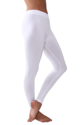 Solid Assorted Color Leggings With Wide Elastic Waistband white