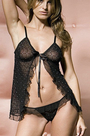 Lacy 2pc Open Front Sheer Babydoll with Matching G-string
