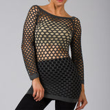 Sexy Gray Fishnet Shirt Club Wear Long Sleeve GOGO Dance Top Blouse