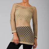 Sexy Beige Fishnet Shirt Club Wear Long Sleeve GOGO Dance Top Blouse