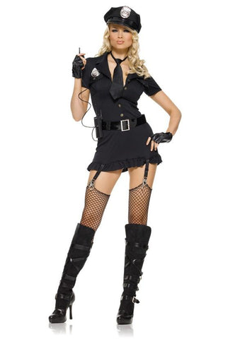 6 PC. Dirty Cop includes hat button front dress finger less gloves belt tie and walkie talkie. 100% Polyester.