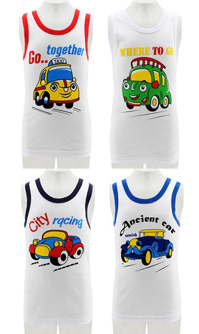 Little Boys Tank Tops Car Printing Summer
