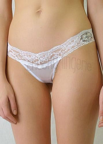Size L Low Rise Lace Satin Bridal T-Back Thong Panty white