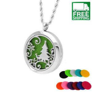 Christmas Tree Essential Oil Diffuser Necklace