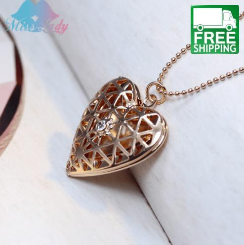 Heart Necklace with Center Gem Essential Oil Diffuser