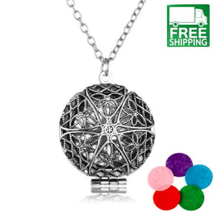 Aromatherapy Locket Necklace with Madala Flower