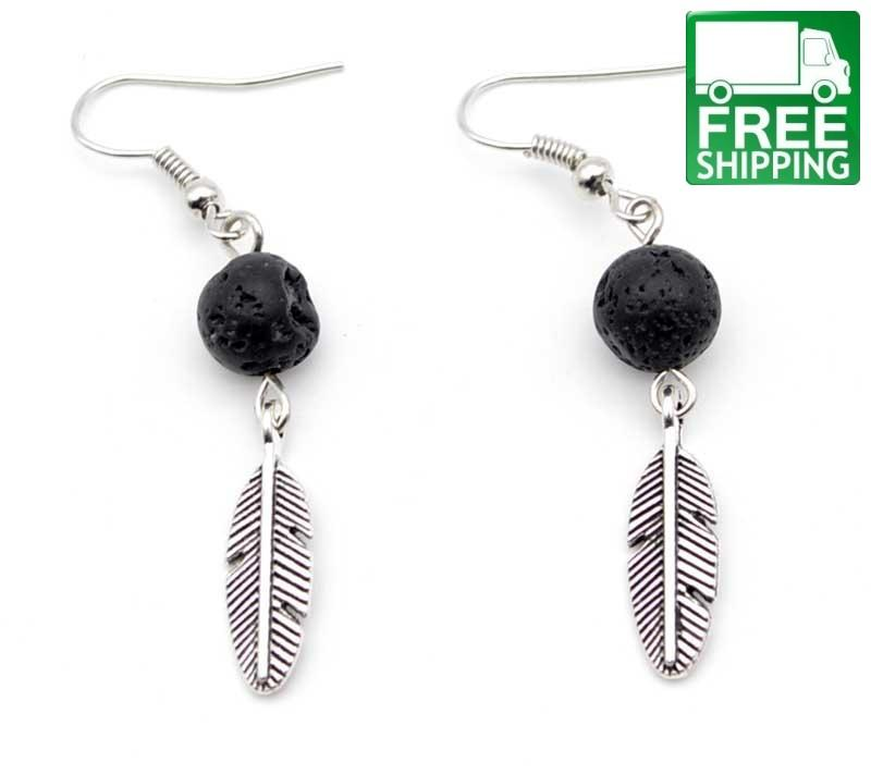 Feather Charm Aromatherapy Earrings