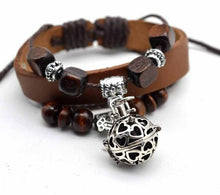 Aromatherapy Leather Bracelet with Small Locket