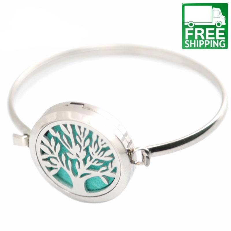 Silver Tree Of Life Locket Bangle 10 Felt Pads All Products Aromatherapy Bracelets