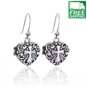 Cross Heart Aromatherapy Drop Earrings