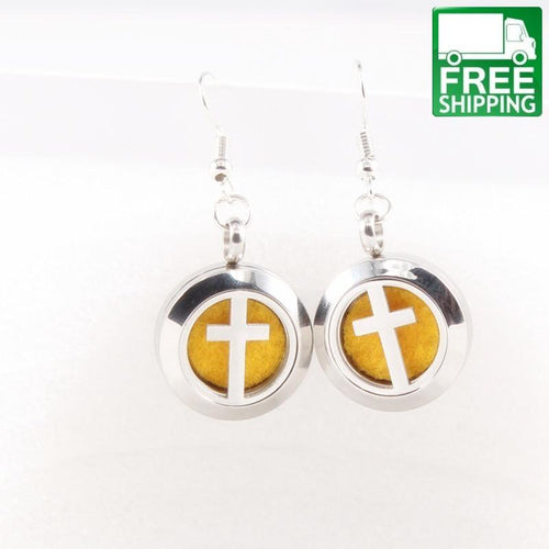 Cross Aromatherapy Drop Earrings
