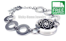Round Silver Lotus Oil Diffuser Bracelet