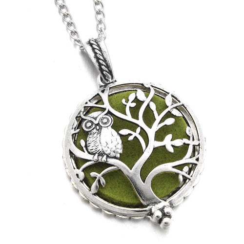 Aromatherapy Necklace with Owl in Silver