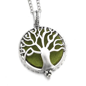 Aromatherapy Necklace in Silver with Tree of Life Pendant