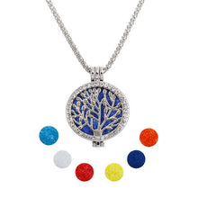 Aromatherapy Tree of Life Necklace with Crystals