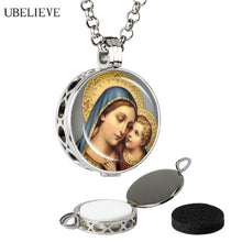 Virgin Mary and Jesus aromatherapy Necklace