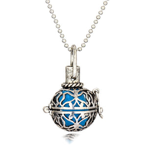 Antique Silver Round and Hollow Aromatherapy Locket Oil Diffuser