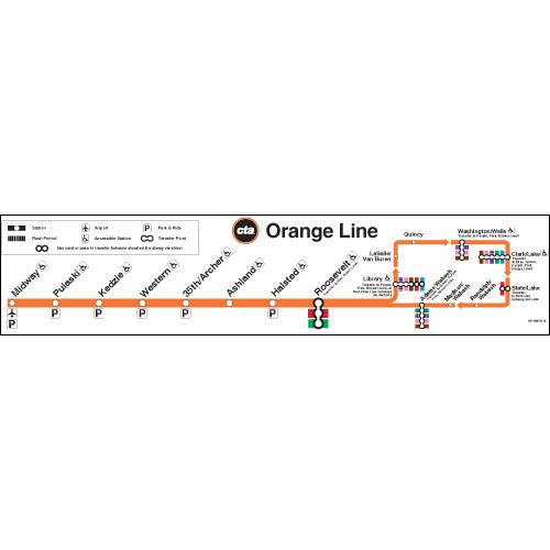 Orange Line Chicago Map Chicago Transit Authority Orange Line Map Poster – CTAGifts.com