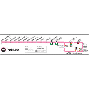 Pink Line Map Poster