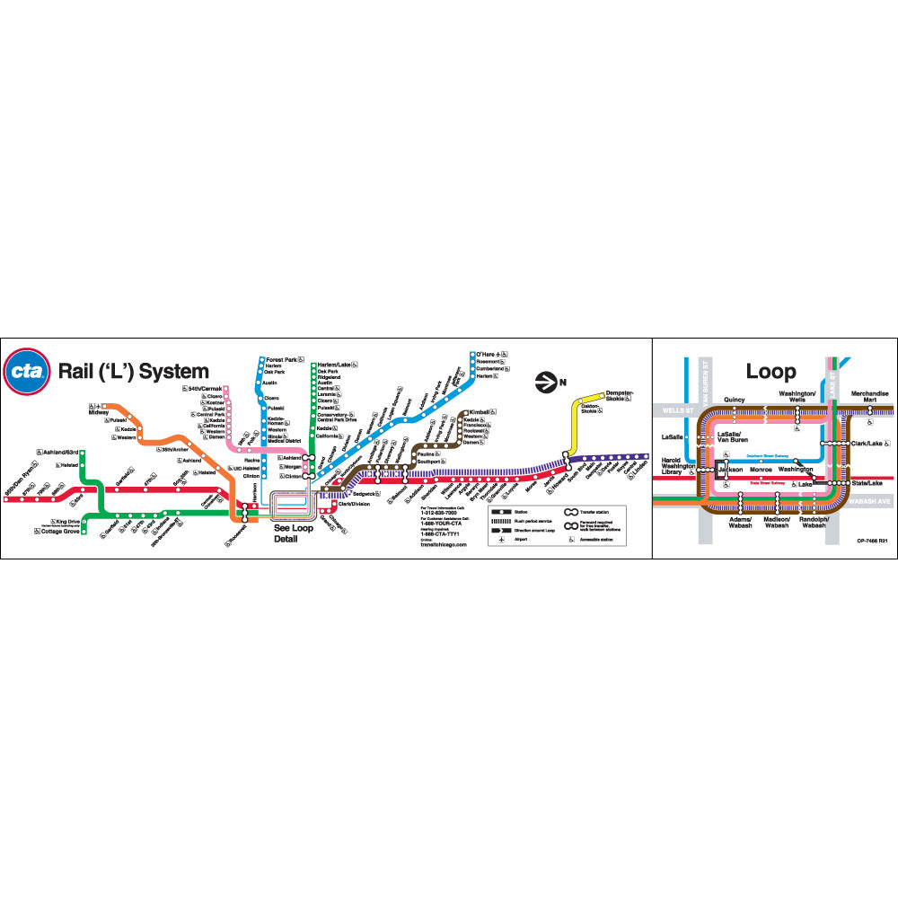 Train In Chicago Map.Chicago Transit Authority Cta System Map Poster Ctagifts Com