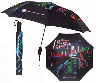 CTA Rail Map Automatic Umbrella - CTAGifts.com