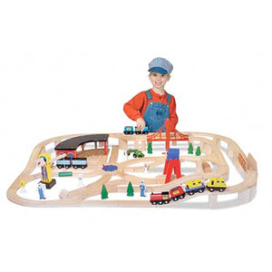 Wooden Railway Train Track Set