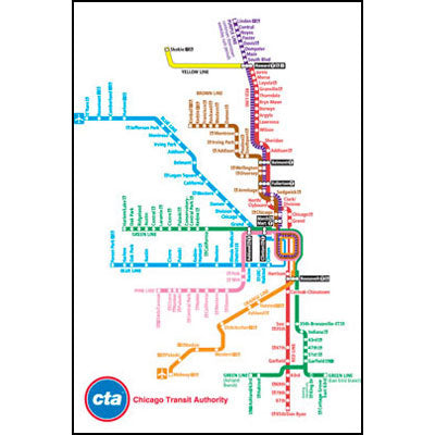 Chicago Transit Map Chicago Transit Authority CTA Map Mag– CTAGifts.com Chicago Transit Map
