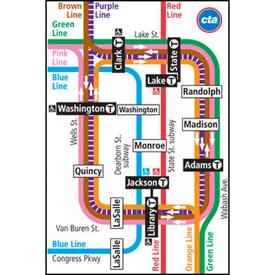 CTA Map Downtown Inset Magnet