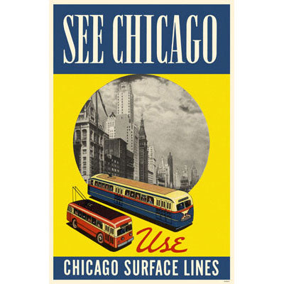 Chicago Surface Lines Blue Yellow Print