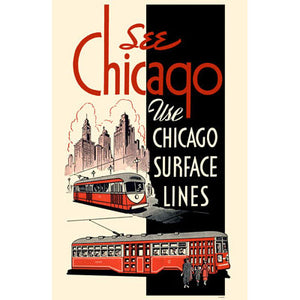 Chicago Surface Lines (Red Black) Print