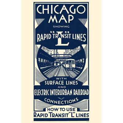 Chicago Map Rapid Transit Lines (Blue White) Print
