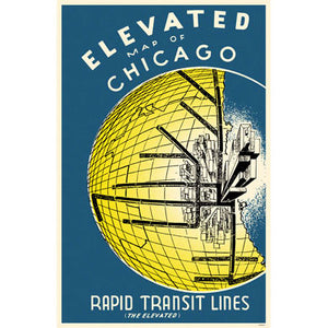 Elevated Map of Chicago Magnet