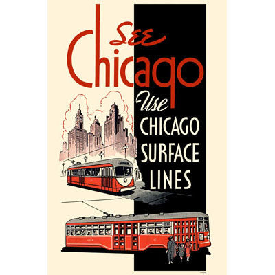 Chicago Surface Lines (Red Black) Magnet