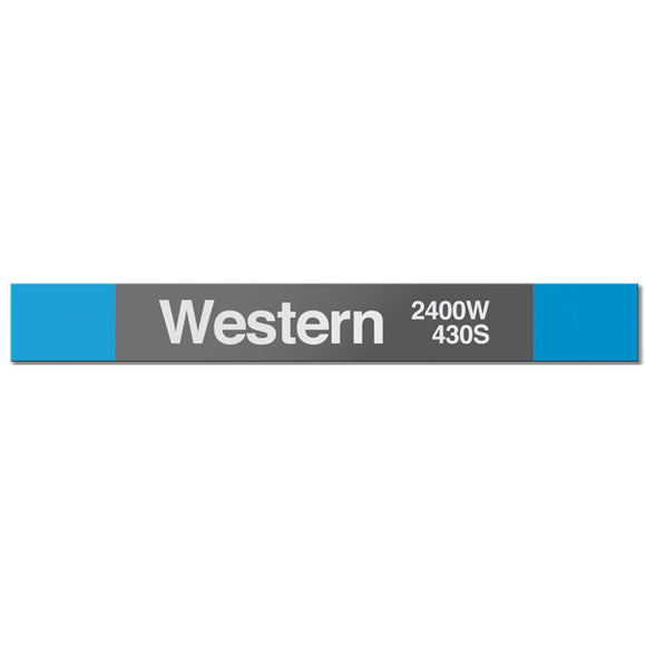 Western (Blue 2400W 430S) Station Sign - CTAGifts.com