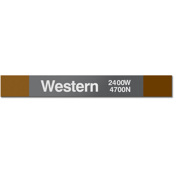 Western (Brown) Station Sign - CTAGifts.com