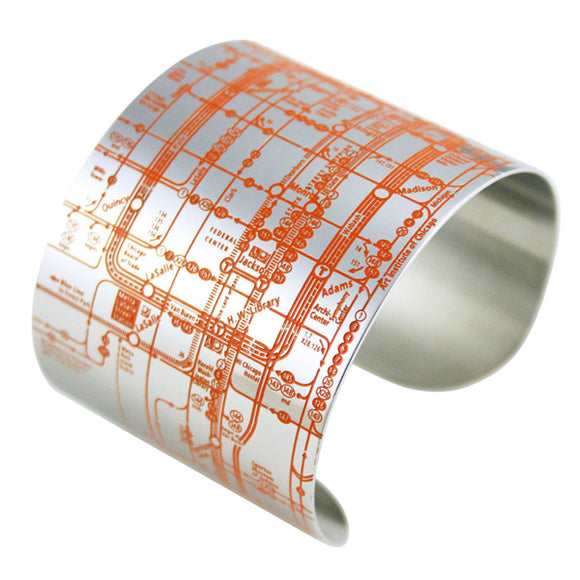 CTA Metro (Orange on Silver) Cuff