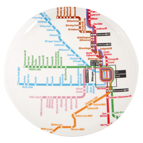 Chicago Rail Map Melamine Plate - CTAGifts.com