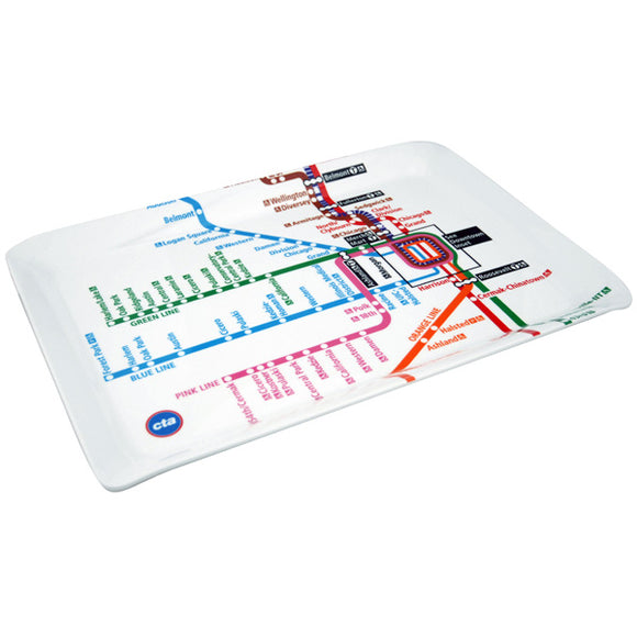 CTA Rail Subway Map Melamine Tray - CTAGifts.com