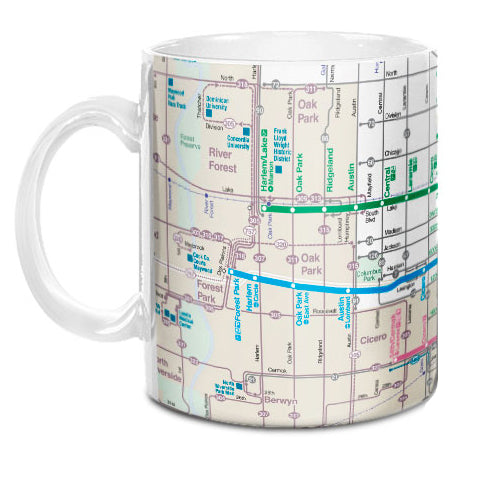 CTA Bus & Rail Map Mug