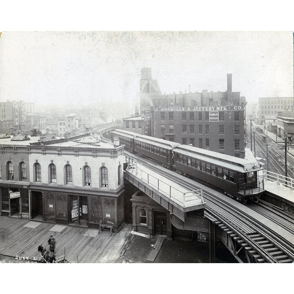 Chicago L Franklin/Chicago Ave Brown Line Stop (Early 1900) Print