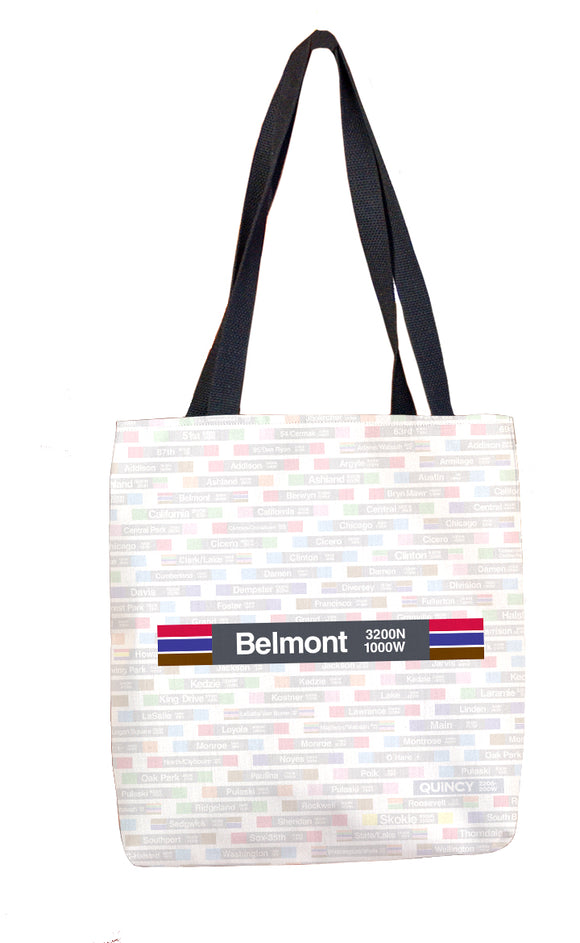Belmont (Red Brown Purple) Tote Bag