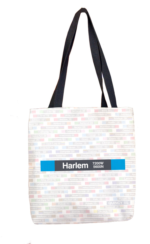 Harlem (Blue 5600N 7200W) Tote Bag - CTAGifts.com