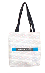 Western (Blue 2400W 1900N) Tote Bag