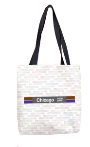 Chicago (Brown Purple) Tote Bag