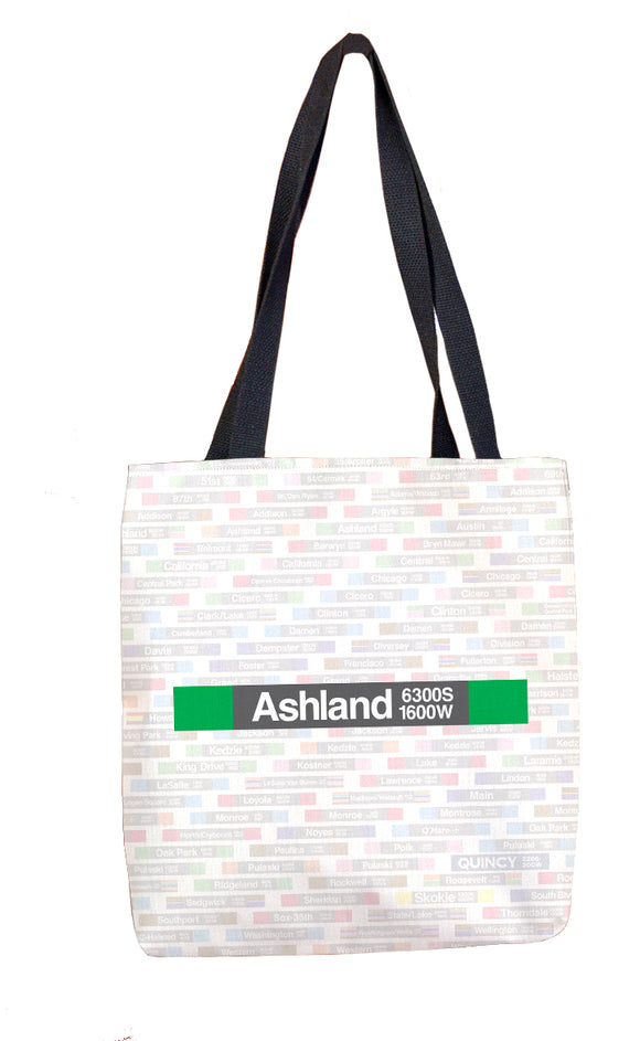 Ashland/63rd (Green 1600W 6300S) Tote Bag