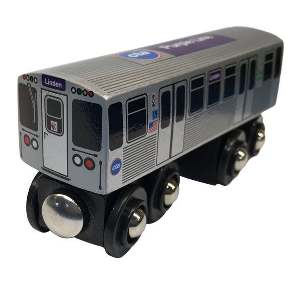 Purple Line Wooden Train