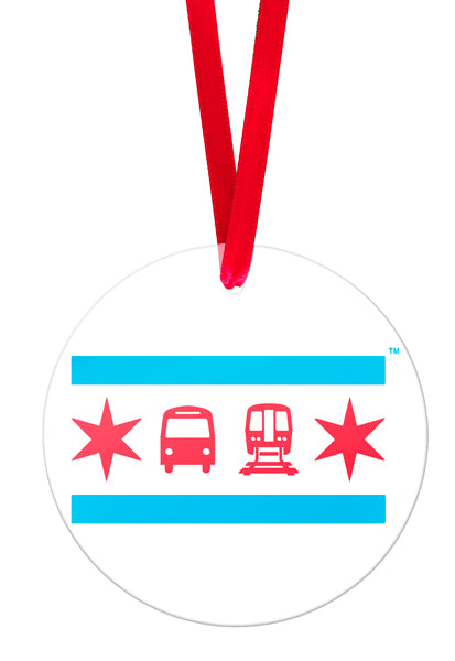 Chicago Flag Glass Ornament